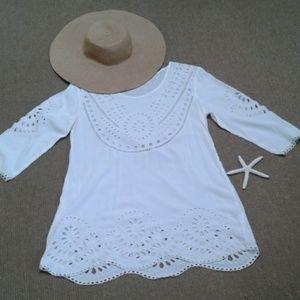 Solitaire Swim  White  swim suit Cover up. NWOT